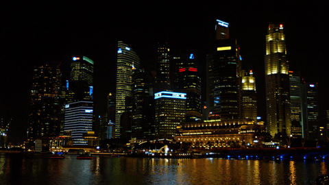 Singapore's night time cityscape. Contrasting architecture. UltraHD footage Footage