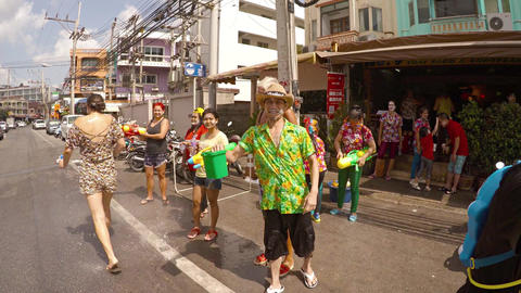 Songkran water festival and Thai New Year in Patong. Thailand Footage