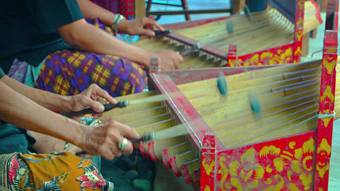 Musicians playing traditional Balinese instruments. Video UltraHD Footage