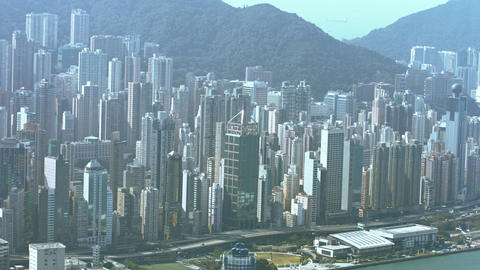 Hong Kong's Cityscape from atop Sky 100 Observation Deck Footage