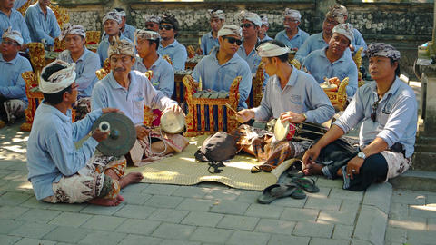 Local musicians playing traditional Balinese music for cremation ceremony Footage