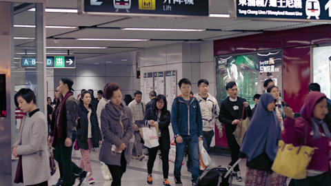 People at Hong Kong metro station. A typical working day. Video 4k UltraHD Footage