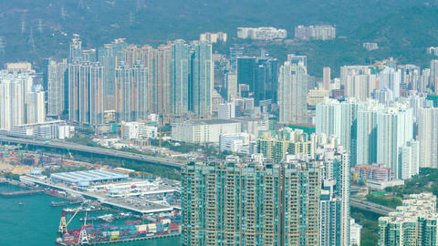 Panorama of a large city on the shore. Hong Kong Footage