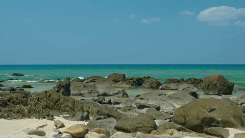 Rocky. Tropical Beach in Phuket. Thailand at Low Tide Footage