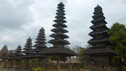 Long Row of Pagodas at Taman Ayun Temple in Bali. Indonesia Footage