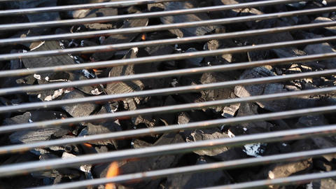 Closeup of a charcoal grill Live Action