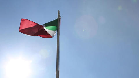National flag of Italy on a flagpole Footage