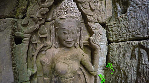 Ancient. Crumbling Relief Sculpture at Bayon Temple. Cambodia Live Action