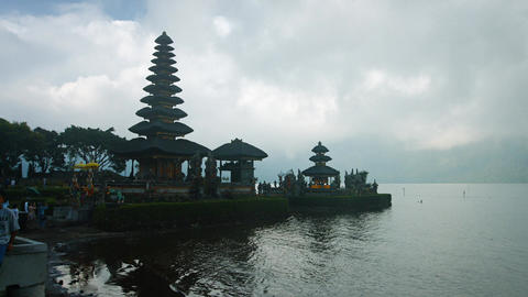 Hindu temple complex on Bratan lake Pura Ulun Danu Bratan. Bali. Indonesia Footage