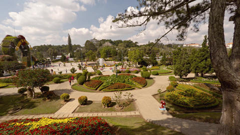 Overlooking view of elaborate. gardens of Flower Garden Park in Dalat Live Action