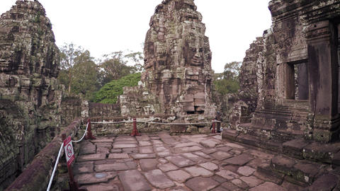 Ancient Sculpted Stone Structures at Bayon Temple in Cambodia Footage