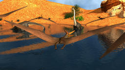 A flock of Pteranodons fly over a lake while a pair of Brachiosaurus dinosaurs g Animation