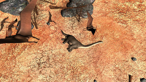 A flock of pterosaurs circle above a dead Brachiosaurus then come in to feed on Animation