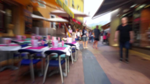 Blurred People In City Walking Street Footage