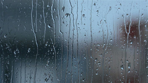 Rain drops on window glass Footage