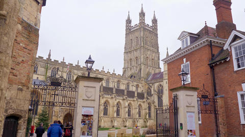 Famous Gloucester Cathedral in England - GLOUCESTER, ENGLAND - JANUARY 1, 2019 Live Action