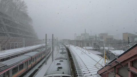 Station where the snowfall and the railway stop Live Action