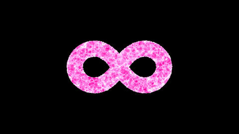 Symbol infinity shimmers in three colors: Purple, Green, Pink. In - Out loop. Alpha channel Animation