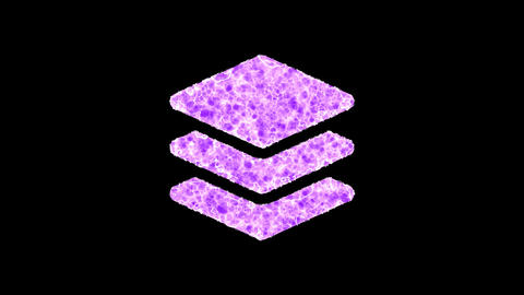 Symbol layer group shimmers in three colors: Purple, Green, Pink. In - Out loop. Alpha channel Animation