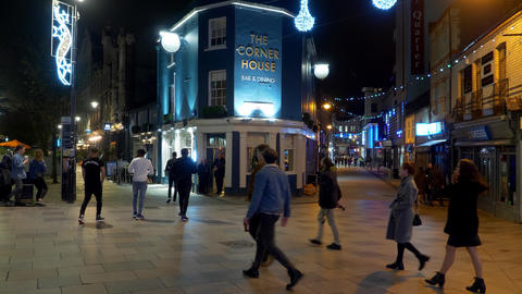 City center of Cardiff Wales at night - CARDIFF, WALES - DECEMBER 31, 2019 Live Action