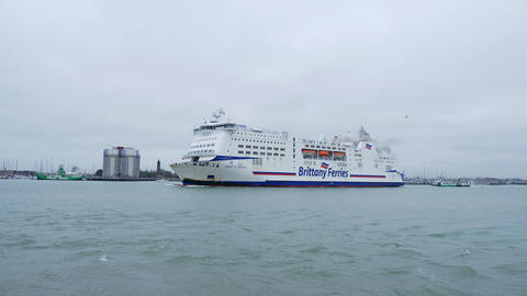 Britanny Ferries at Portsmouth - PORTSMOUTH, ENGLAND - DECEMBER 29, 2019 Live Action