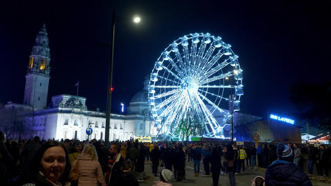 Ferris Wheel in the city of Cardiff in Wales by night - CARDIFF, WALES - Live Action