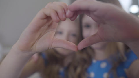 Close-up of heart sign made with little Caucasian hands. Blurred Caucasian twin Live Action