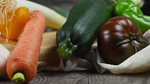 Still life of various delicious healthy organic vegetables, on rustic wooden Live Action