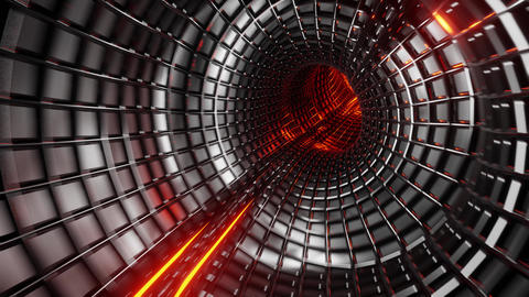 seamless looped 3D rendering animation of an flight trough futuristic tunnel Animation