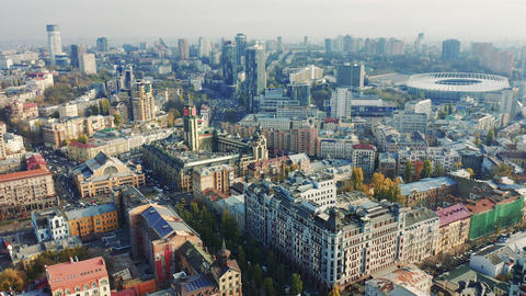 Aerial view of skyscrapers and buildings in Kiev, day light in the autumn Live Action