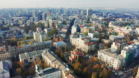 Aerial drone shot flying around downtown Kiev in the autumn. The Golden Gate of Live Action