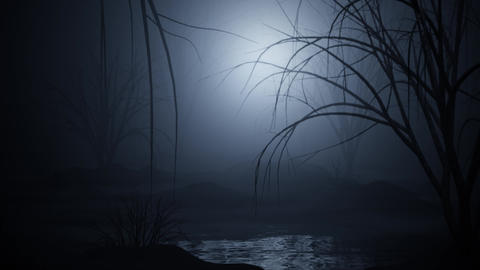 seamless looped animation of an dark horror swamp Animation