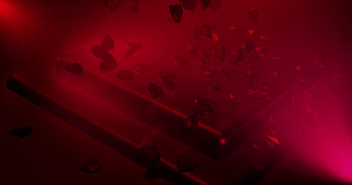 Red polygonal hearts falling on glamorous podium. Valentines Day event Animation