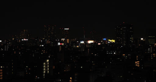 A night cityscape at the urban city in Tokyo middle shot Live Action