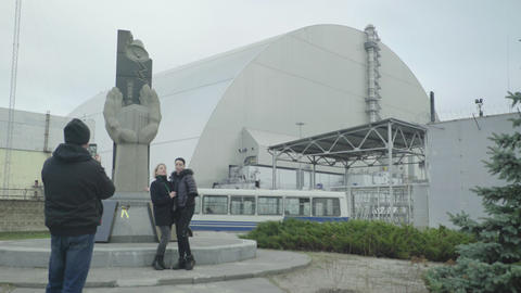 Chernobyl Exclusion Zone. Pripyat. Extreme tourism. Tourists Live Action