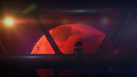 View of Mars from a spaceship with a droid on board Animation