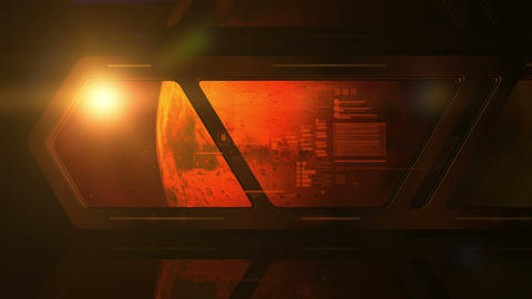 Planet Mars from the window of a space station Animation