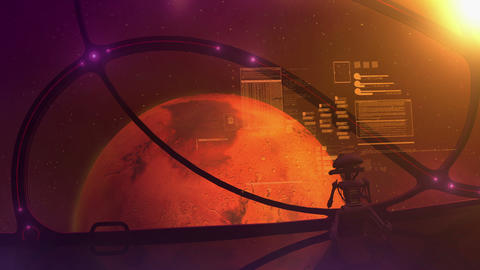 A spaceship with a droid on board flies to Mars Animation