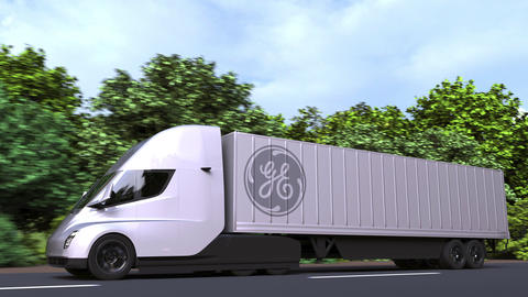 Electric semi-trailer truck with GENERAl ELECTRIC GE logo on the side. Editorial Live Action