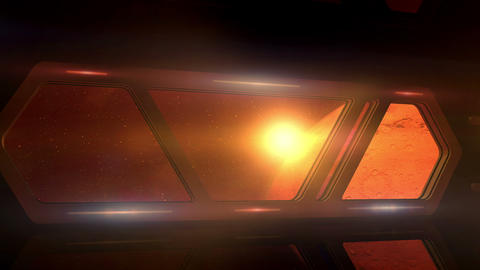 Mars in the windows of an approaching spaceship Animation