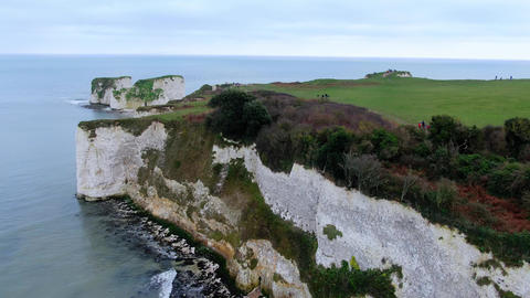 Old Harry Rocks in England - aerial view Live Action