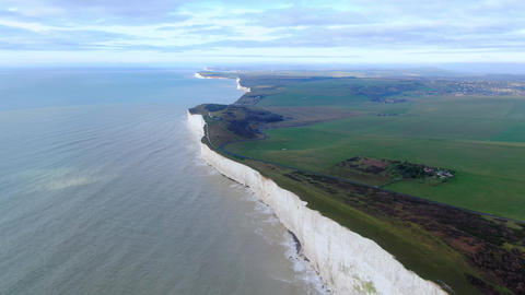White cliffs at the English coast - aerial view Live Action