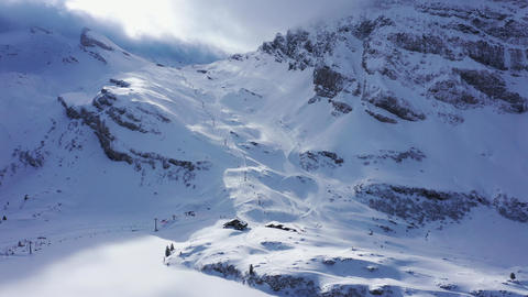 Famous skiing area in the Swiss Alps called Titlis Engelberg in Switzerland Live Action