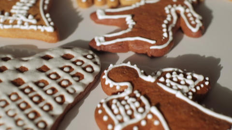 Traditional gingerbread Christmas cookies. Slow motion dolly shot. Shallow depth of field. Czech Live Action