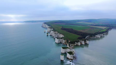 Flight around Old Harry Rocks in England - aerial view Live Action