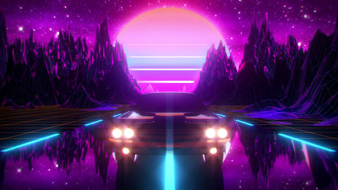 3D Retro Synthwave Night Mountains VJ Loop Motion Background Animation