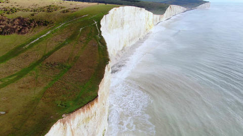 Awesome white cliffs of England - aerial view Live Action