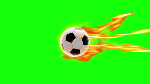 Soccer Ball fire loop green screen Videos animados