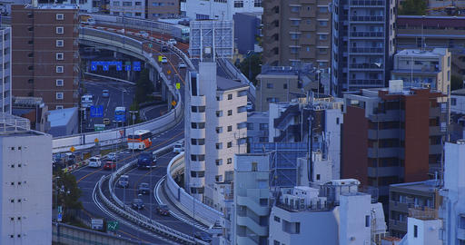 A highway at the urban city in Tokyo high angle long shot Live Action