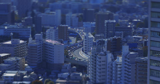 A highway at the urban city in Tokyo tiltshift Live Action